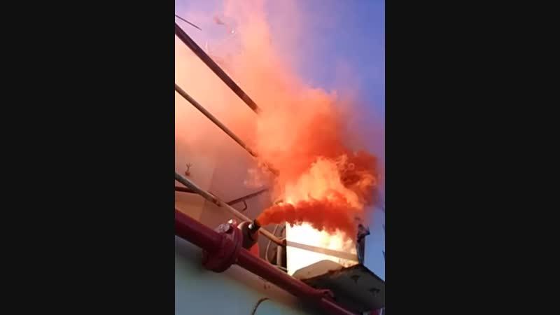 Дымовой буй в действии