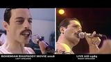 BOHEMIAN RHAPSODY 2018 COMPLETE SONGS side by side with QUEEN Live Aid 1985 FULL LIVE AID SCENE