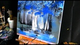 Blue trees - abstract landscape painting - by Dranitsin