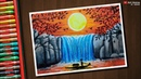Sunset waterfall 2 drawing with Oil Pastels step by step