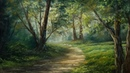 Sunlit Forest Path Paintings By Justin