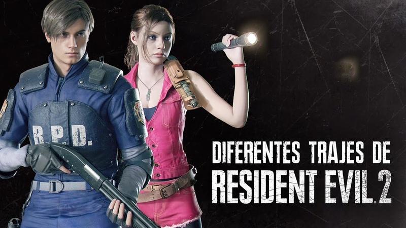 RESIDENT EVIL 2 Remake - Diferentes Trajes Roupas de Leon e Claire!