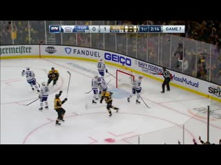Jake gardiner coughs up puck behind maple leafs net for bruins goal