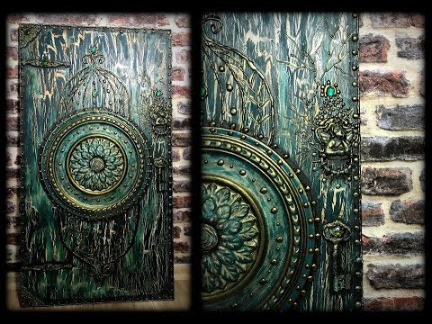 AKRİLİK TUTKAL ÇATLATMA ANTİK AHŞAP KAPI TABLO ACRYLIC GLUE CRACKLE ANTİQUE WOOD DOOR WALL DECOR