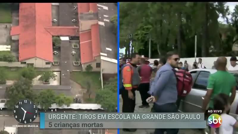 Repórter do SBT se desespera por informações na porta de escola em Suzano