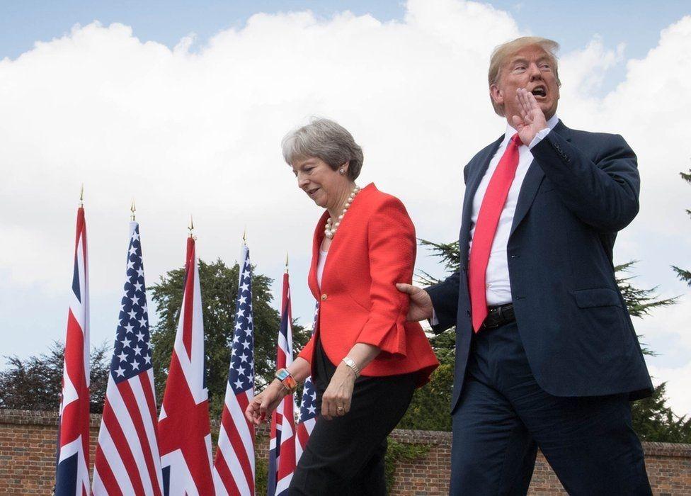 Президент США Дональд Трамп и премьер-министр Британии Тереза Мэй