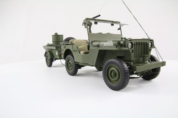 Willys Jeep with Trailer 118 Autoart - unbox and review
