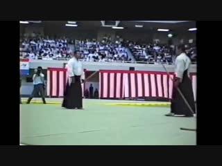 The 1988 All-Japan Aikido Demonstrations. Morihiro Saito Sensei assisted by Hitohiro Saito Sensei & Hiroki Nemoto Sensei.