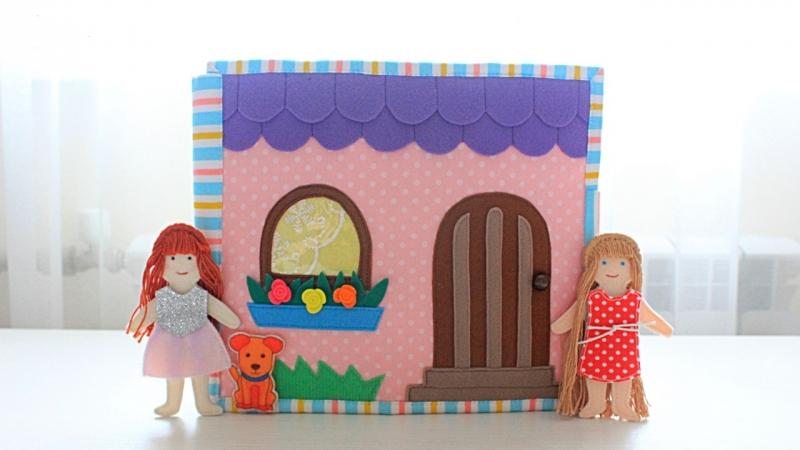Кукольный домик книжка из фетра Quiet book Dollhouse felt busy book doll house