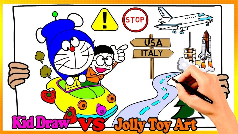 Doraemon Nobita Drive A Car Coloring Pages | Painting and Drawing For Kids Vs Jolly Toy Art ☆ 248