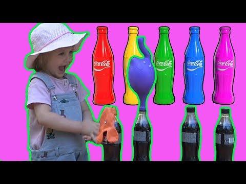 Узнайте цвета с кока колой и ментос и научным экспериментом для детей Learn Colors with Coca Cola