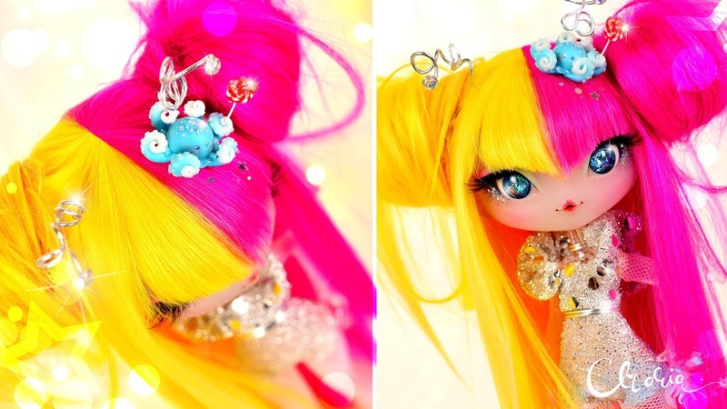 Repainting Originals - Making an Alien Doll, Open Eyes Mod, Doll Wig and Resin Eyes Novi Stars OOAK