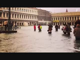 Street flooding due to storm surge in Venice (Italy, october 29, 2018)