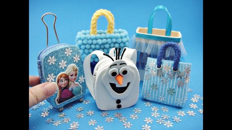 5 DIY Miniatures Frozen Theme Mini Bags - Trolley bag, Backpack, Tote, etc