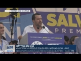 Affiche « Nous préférons Marion à Macron » lors d'un meeting de Salvini (i24News, 02/07/18)