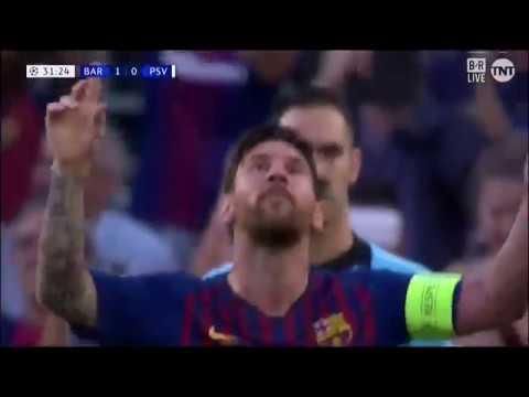 Гол Месси со штрафного в ворота ПСВ | Лига Чемпионов 2018/19 1-тур
