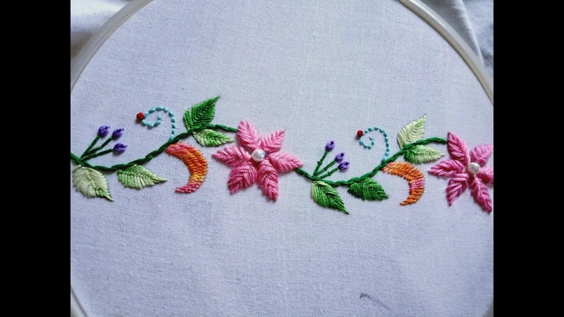 Hand embroidery. Hula flower stitch. Border design.