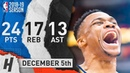 Russell Westbrook Full Highlights Thunder vs Bulls 2018.12.07 - 24 Pts, 13 Ast, 17 Reb!