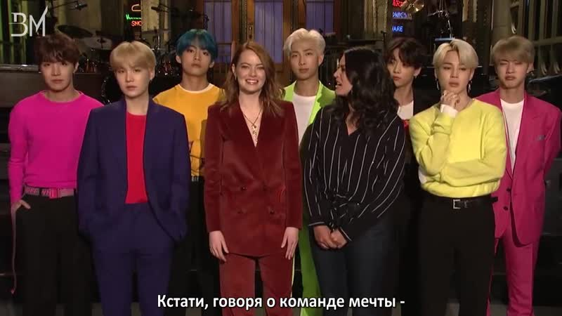 RUS SUB 12 04 19 Emma Stone and Cecily Strong Are Freaking Out About BTS @ SNL Preview