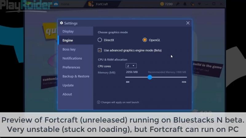Неопубликованная версия FortCraft для PC через Bluestacks N Beta