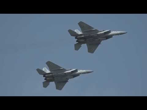 Two Israeli Air Force F 15 Baz dogfighting over Tel Aviv April 12 2018