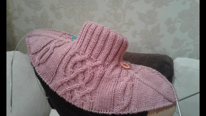 Метод непрерывного вязания спицами. Свитер с аранами. Часть 1. Кnit sweater.