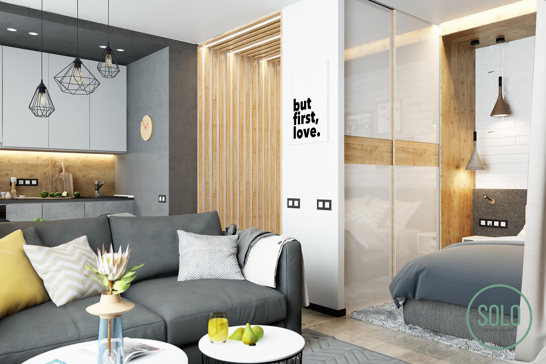 Проект квартиры 33,4 м (с балконом - 38 м) в ЖК Опалиха о3, Красногорск.
