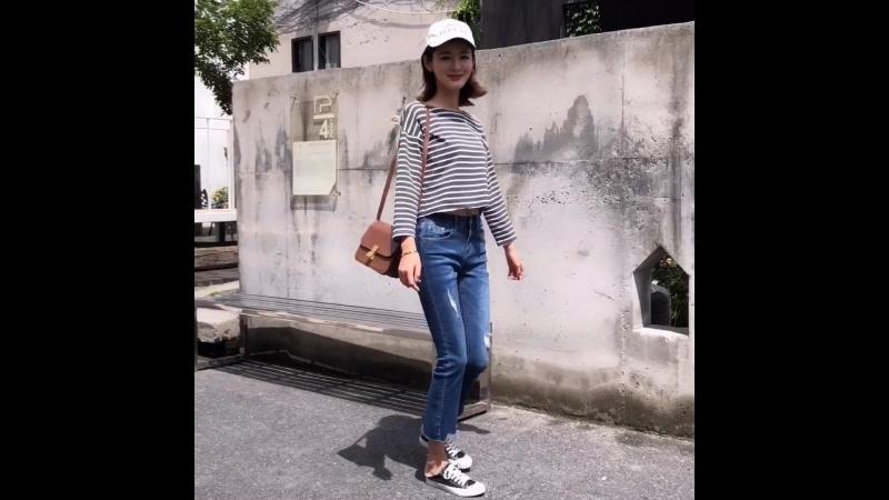 2018 Autumn Slim Stretch Basic Denim Ripped jeans 8902