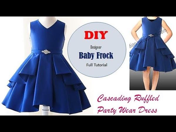 DIY Designer Cascading Ruffled Baby Frock Full Tutorial