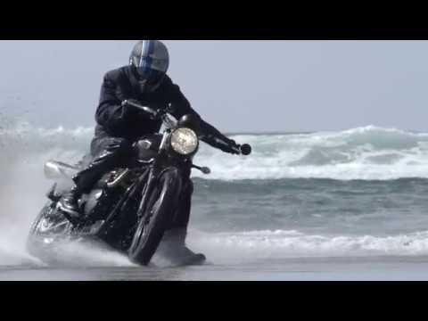 Triumph Scramblers tracking on the Beach