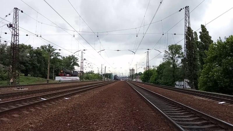 ТЭП70-0055 с приветливой бригадой поезд45 Лисичанск-Ужгород станция Харьков-пассажирский