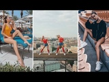 Two Russian girl daredevil dancing at support Russia team on World Cup 2018