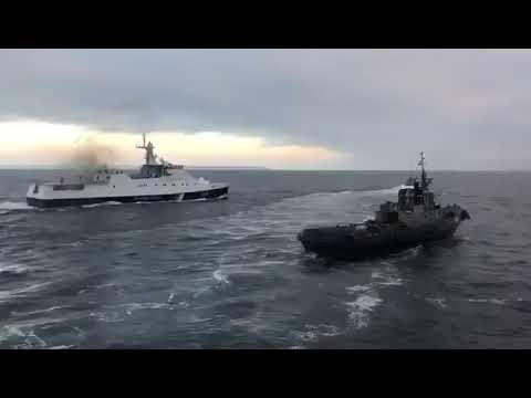 Росийский военный корабль таранит Украинский! Керченский пролив!