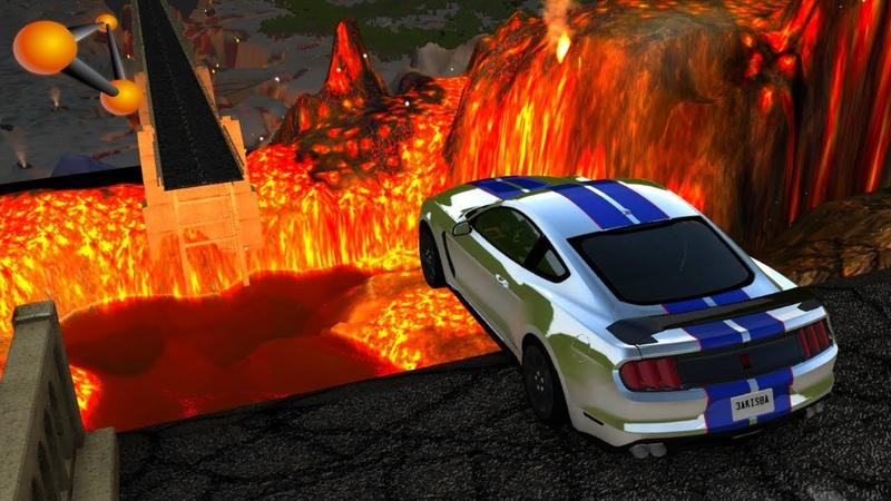 BeamNG.drive - Open Bridge Crashes over Volcano