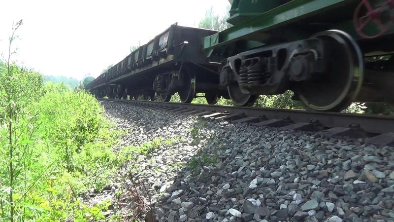 3ТЭ10У-0005 с грузовым поездом, перегон Угловой-Чур