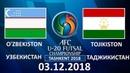 O'ZBEKISTON - TOJIKISTON 03.12.2018 O'YIN SHARHI FUTZAL U20 TOSHKENT 2018
