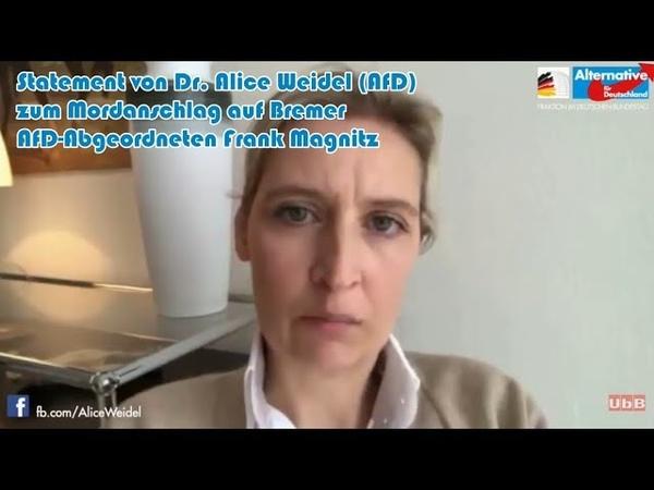 Statement von Dr. Alice Weidel (AfD) zum Mordanschlag auf Bremer AfD-Abgeordneten Frank Magnitz