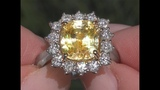 GIA 8.59 tcw VVS Clarity Top Gem Unheated Yellow Sapphire &amp Diamond Cocktail Ring 18k Gold C480