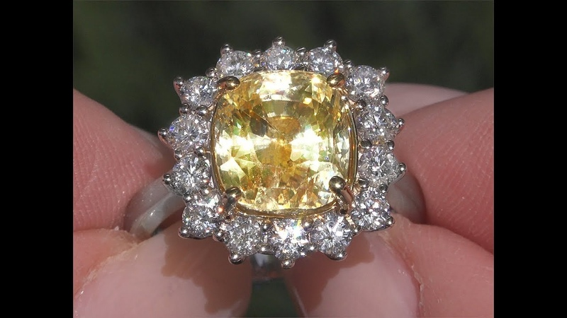 GIA 8.59 tcw VVS Clarity Top Gem Unheated Yellow Sapphire Diamond Cocktail Ring 18k Gold C480