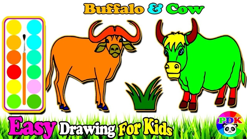 How To Draw Buffalo Cow Animals Coloring | Learn Painting Colors For Toddlers - Drawing For Kids