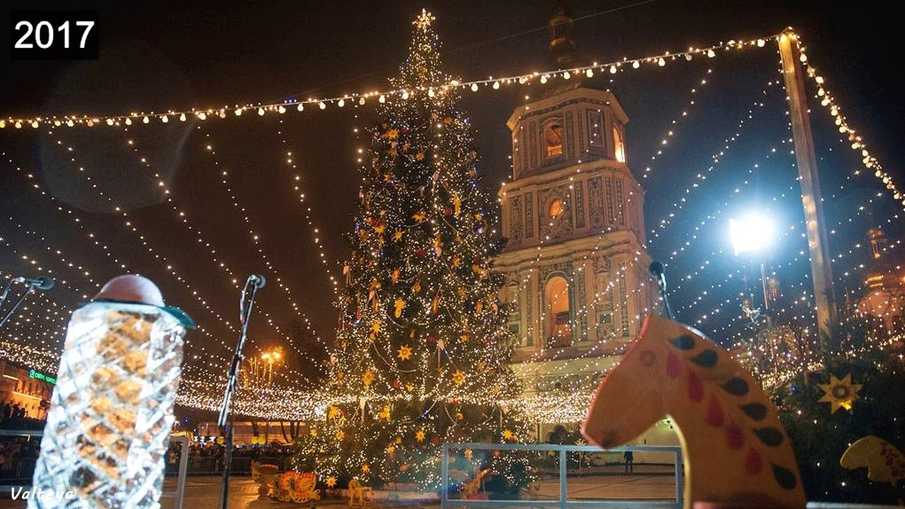 Как менялась новогодняя елка в Киеве за 9 лет. _kGS8LtGldw