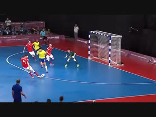 Brazil take the early lead on a Russian own-goal in the mens Futsal final