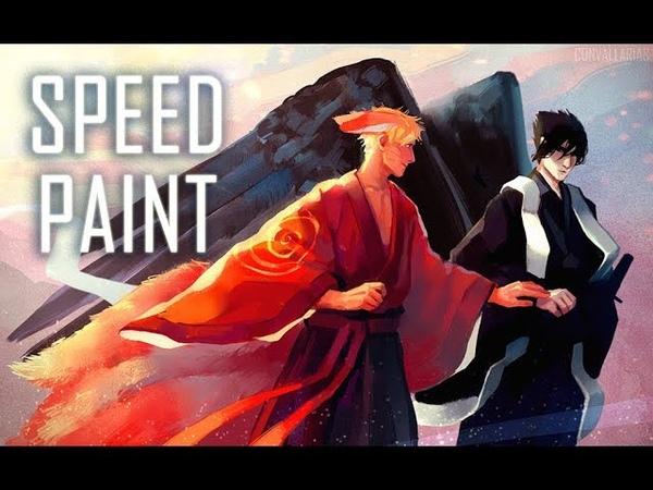 SPEEDPAINT | Naruto and Sasuke | kitsune and tengu | Paint Tool SAI