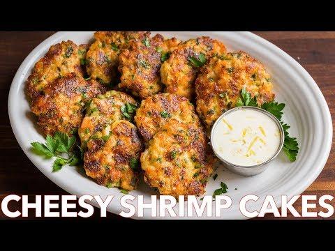 Cheesy Shrimp Cakes Recipe with Lemon Aioli Sauce