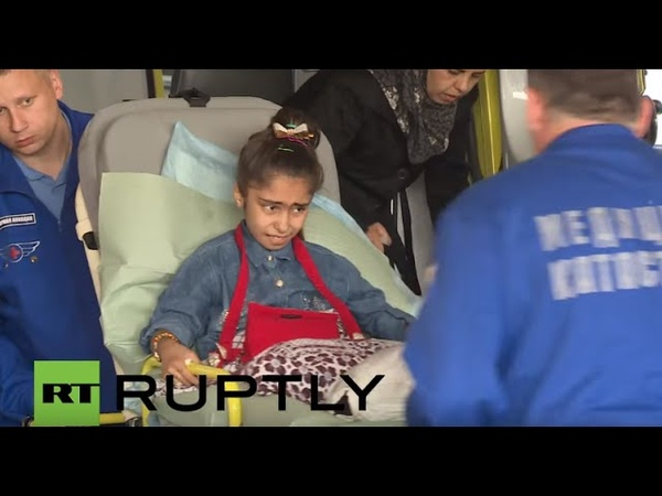 Russia: Injured Syrian girl arrives in Moscow for treatment
