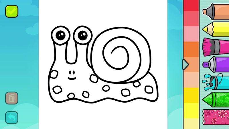 Hướng dẫn tô màu con vật Con ốc sên ngộ nghĩnh - coloring the snail
