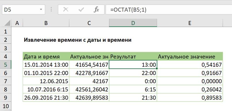 Извлечение времени с даты и времени