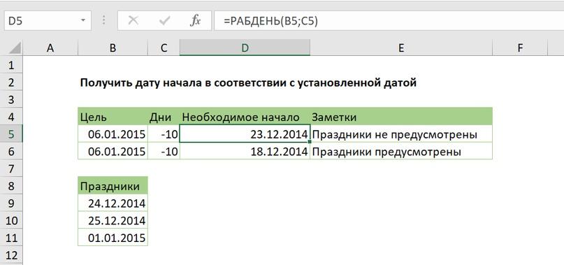 Получить дату начала в соответствии с установленной датой