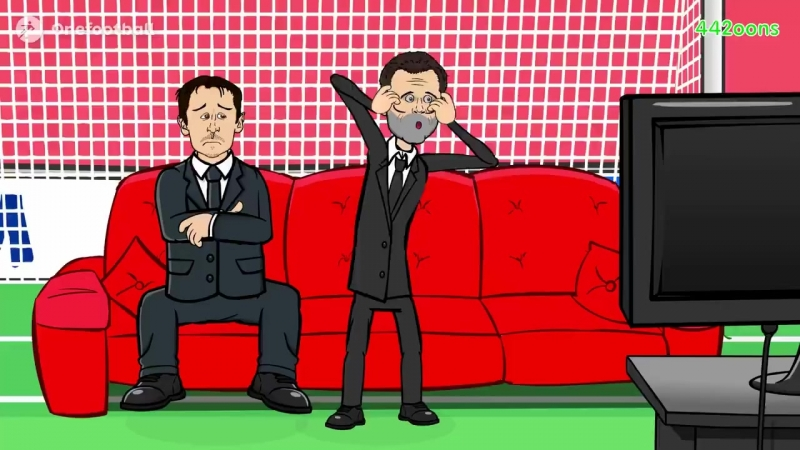 Carragher and Neville watching Sturridges goal...