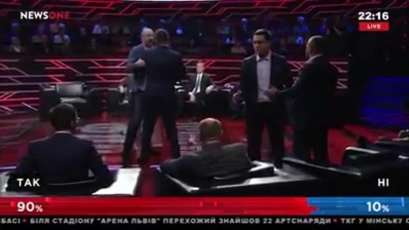 Драка радикалов в прямом эфире на украинском телевидении